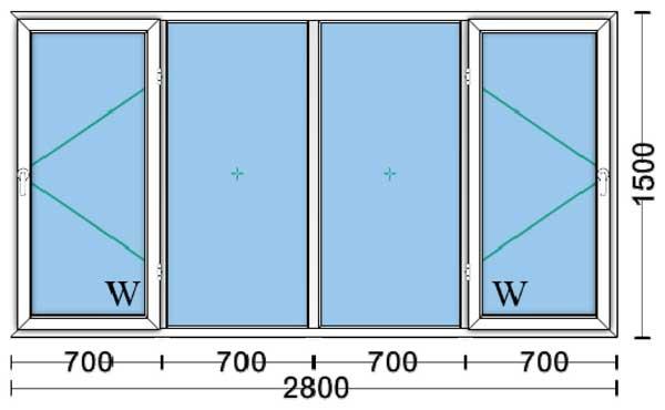 قیمت پنجره دوجداره upvc با شیشه ۴و۴ ساده۱٫۵۰*۲٫۸۰[آفتاب]