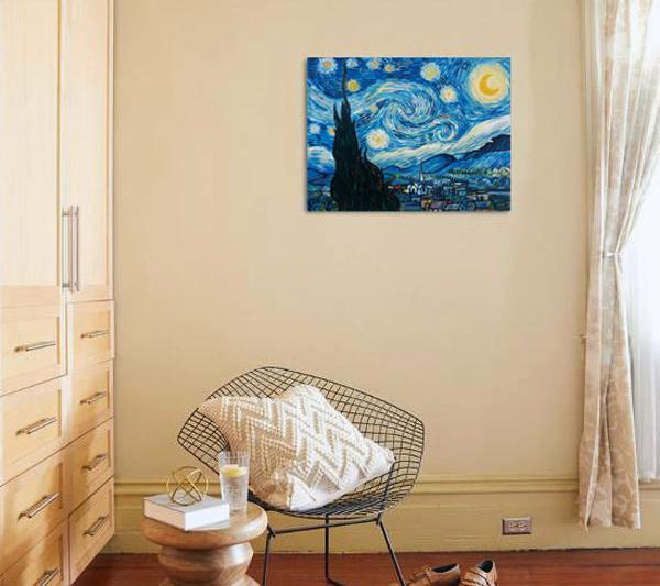 قیمت تابلو نقاشی رنگ روغن طرح شب پر ستاره ونگوگ