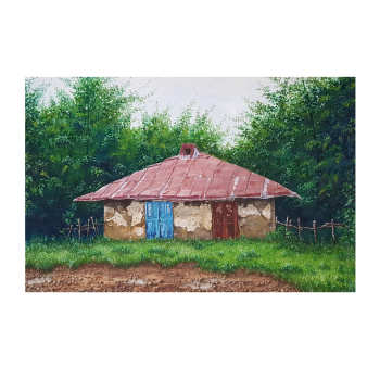 قیمت تابلو نقاشی رنگ روغن طرح خانه روستایی کد ۳۳۷۸
