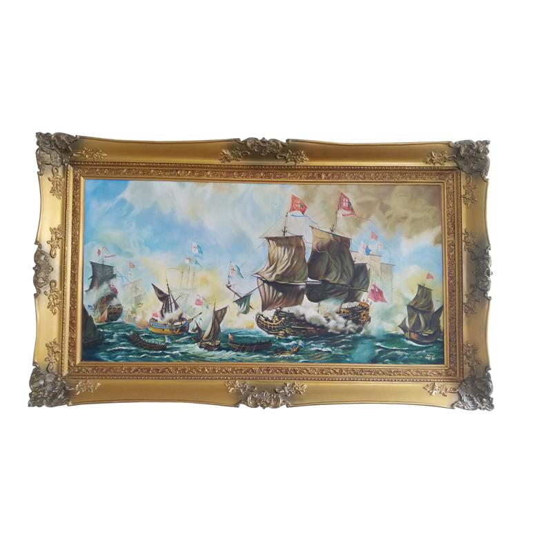 قیمت تابلو نقاشی رنگ روغن طرح کشتی جنگی