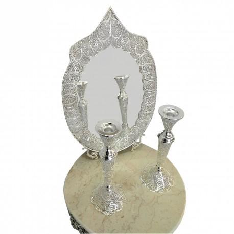 قیمت آینه و شمعدان ملیله بیضی تاج دار