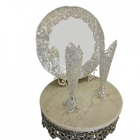 قیمت آینه و شمعدان گرد ملیله نقره