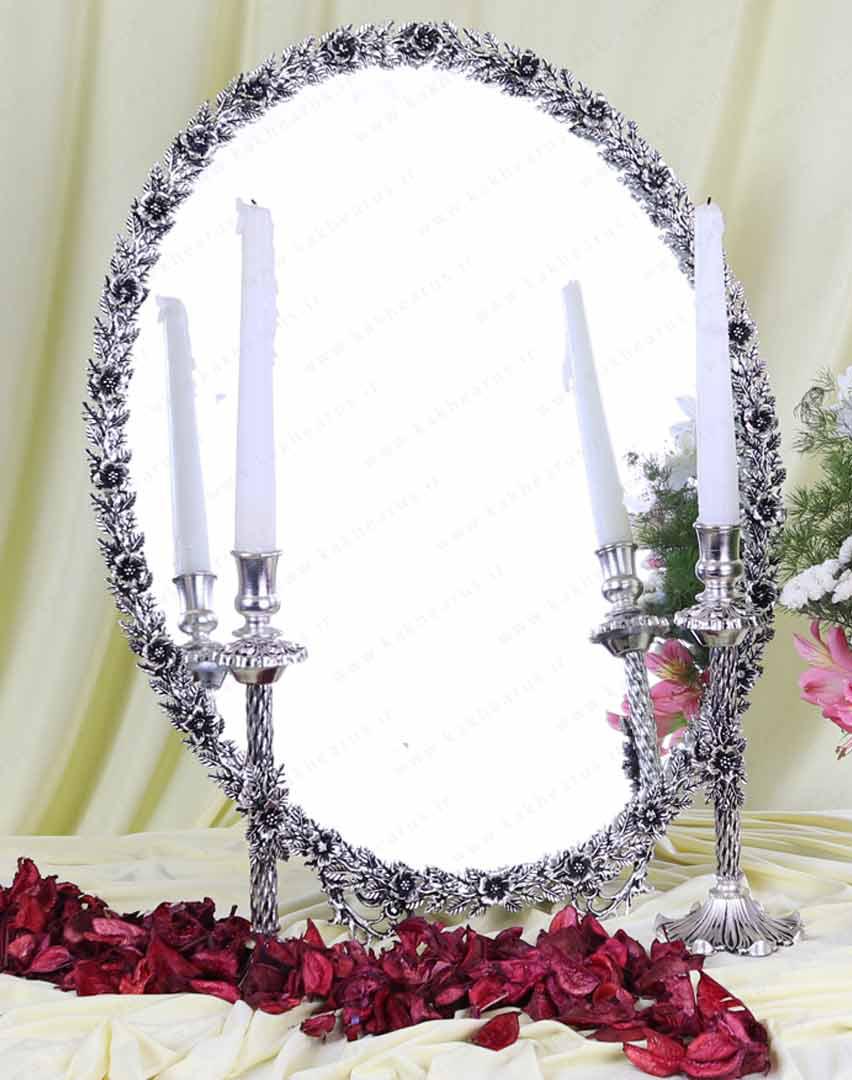قیمت آینه و شمعدان برنجی طرح نقره مدل نرگس