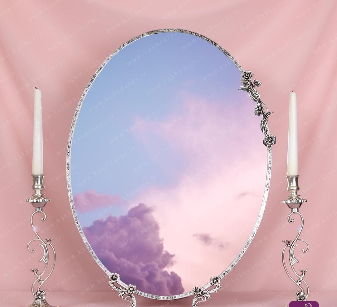 قیمت آینه و شمعدان برنجی طرح نقره مدل نارگل