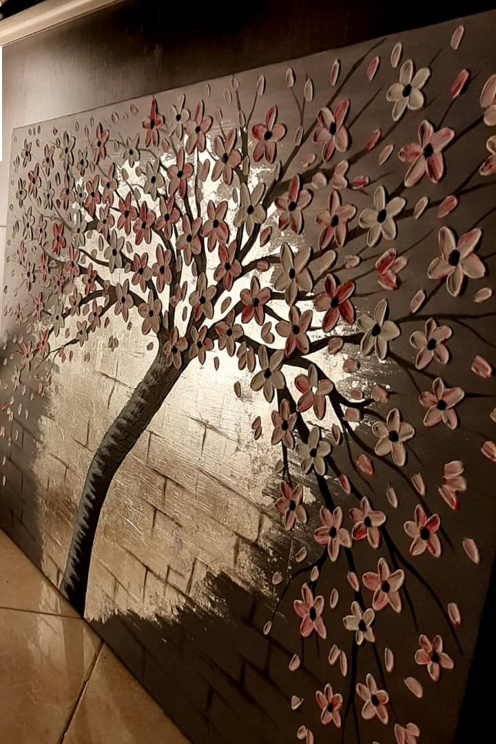 قیمت تابلو نقاشی مدرن برجسته شکوفه کد ۱۰۱۶۹۶