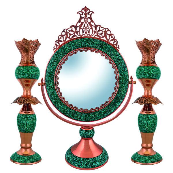 قیمت ست آینه و شمعدان فیروزه کوبی کد KJ170