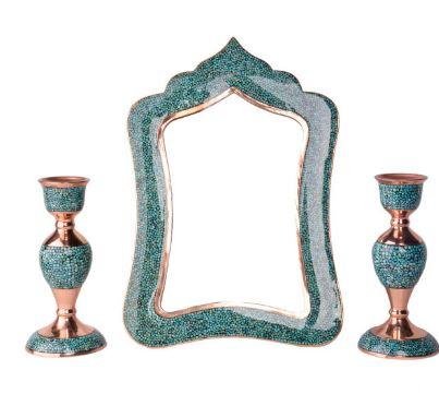 قیمت ست ۳ تکه آینه و شمعدان فیروزه کوبی هنرلوکس