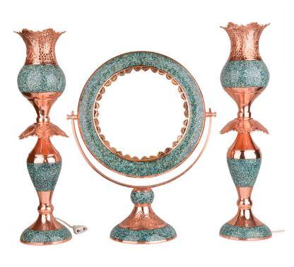 قیمت ست آینه و شمعدان فیروزه کوبی هنرلوکس مدل لاله